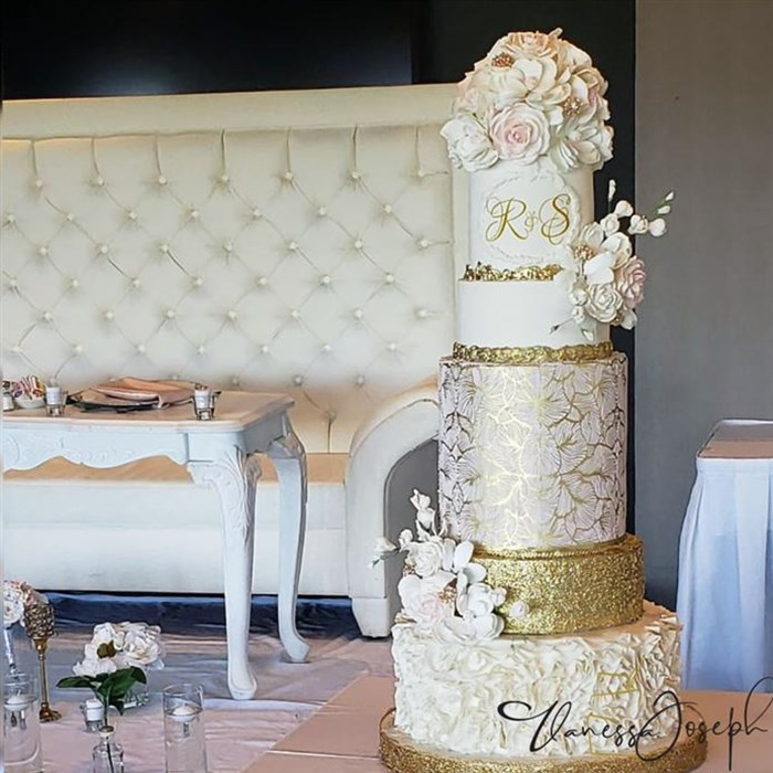 white, gold and pink blush romantic wedding cake