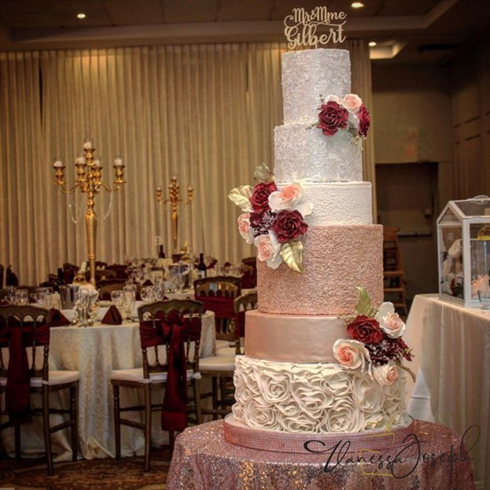 White, rose gold and burgundy romantic wedding cake