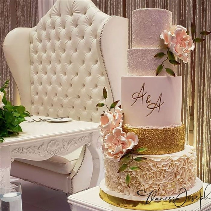White, gold and pink blush wedding cake