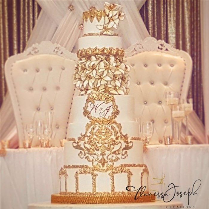 Baroque royal white and gold wedding cake